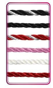 GemDrops 3mm Black & Silver Silk Cord