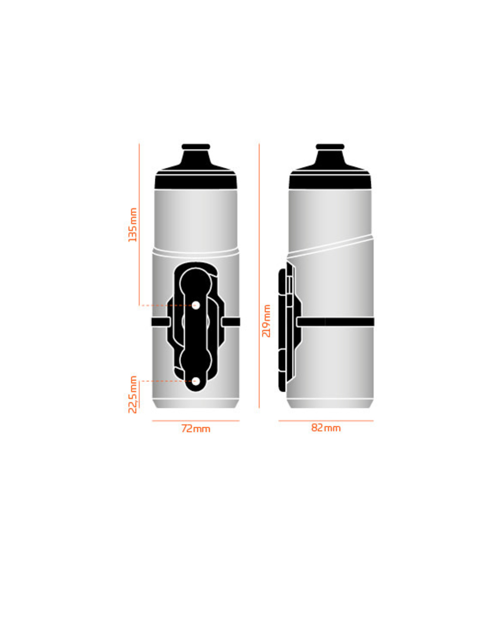 Fidlock BOUTEILLE FIDLOCK 600ML WITH BIKE BASE TRANSPARENT BLACK