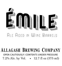 Allagash Brewing Co. 'Emile' Ale Aged in Wine Barrels 375ml