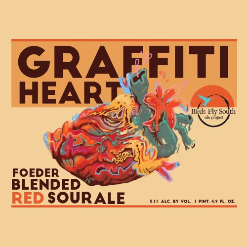 Birds Fly South Ale Project 'Graffiti Heart' Foeder Blended Red Sour Ale 750ml