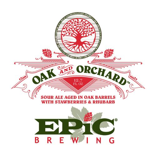 Epic 'Oak and Orchard' Sour ale Aged in Oak Barrels w/ Strawberries & Rhubarb 375ml