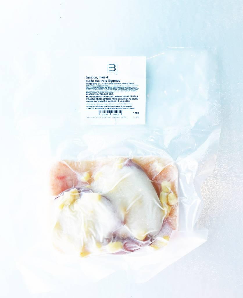 Jambon, maïs & purée aux trois légumes (175 g)