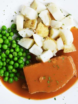 Pain de viande, patates en dés & pois verts (325g)