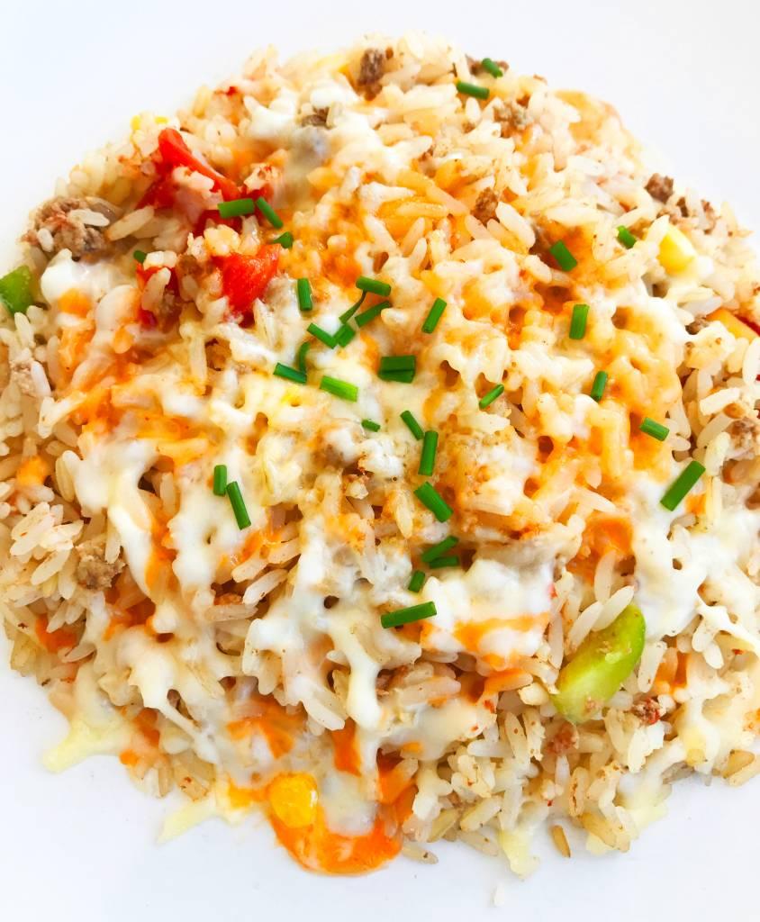 Rice, vegetables & beef gratin (325g)