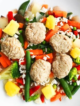 Ultra FIT Veal meatballs, pilaf rice, pineapple & Asian vegetables
