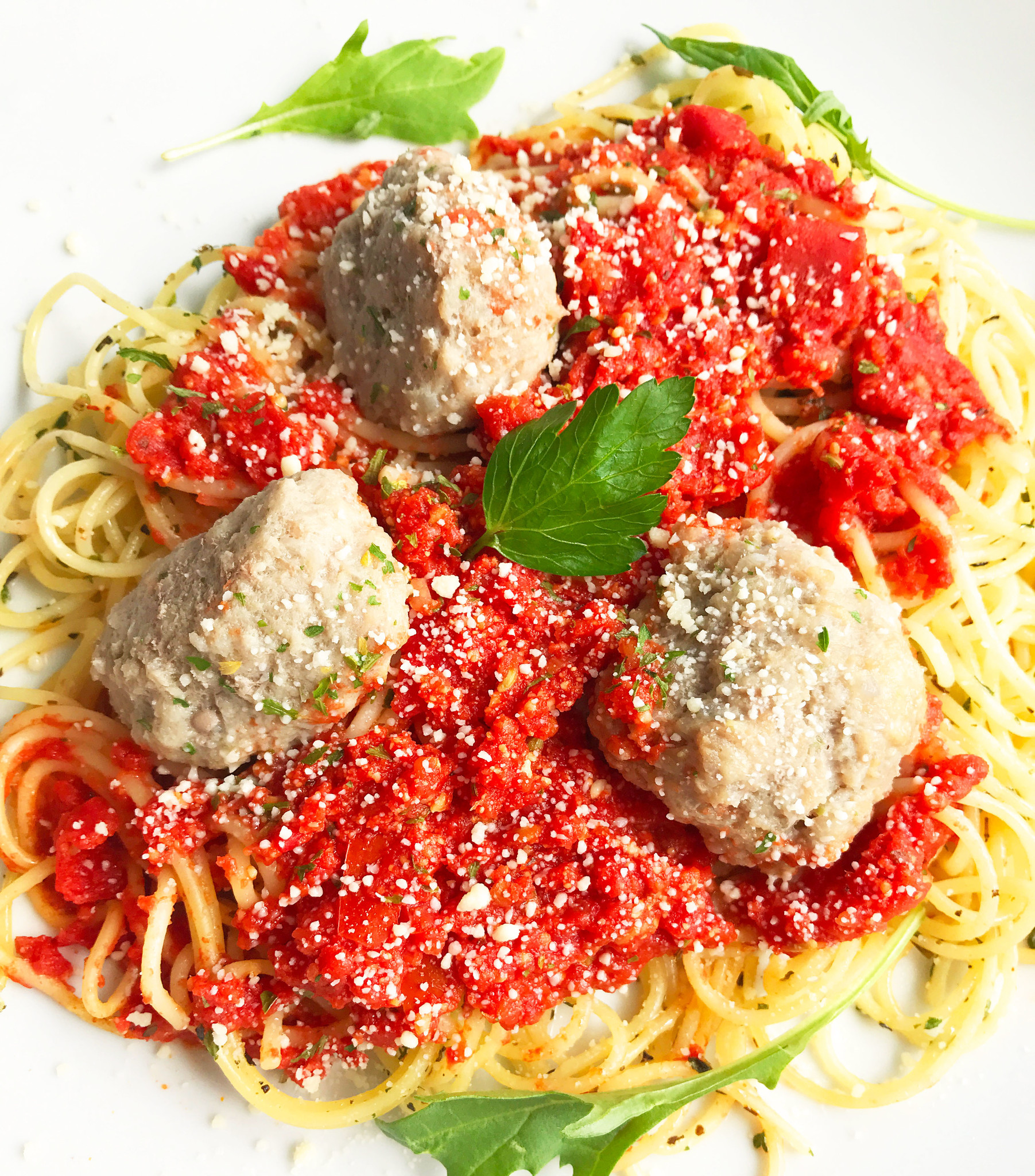 Spaghettini aux boulettes de veau, marinara & parmesan (325g)