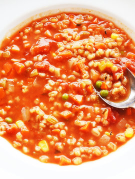 Barley and vegetable soup