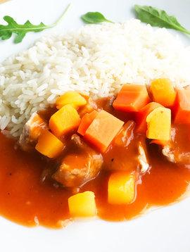 Filet de porc, sauce BBQ, légumes & riz (175g)