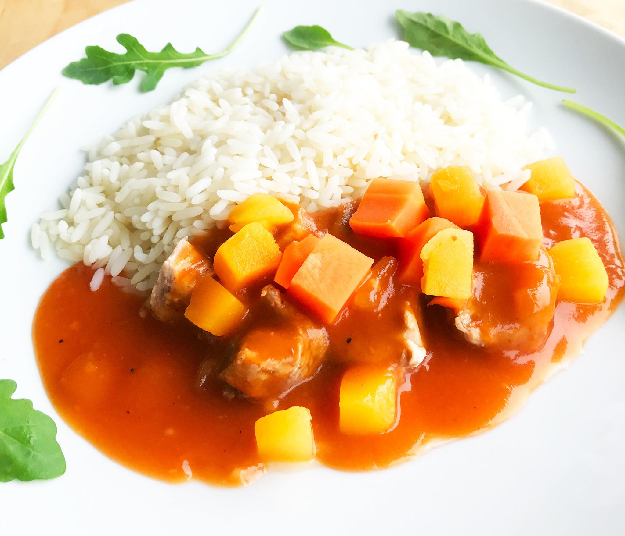 Pork tenderloin, BBQ sauce, vegetables & rice (175g)