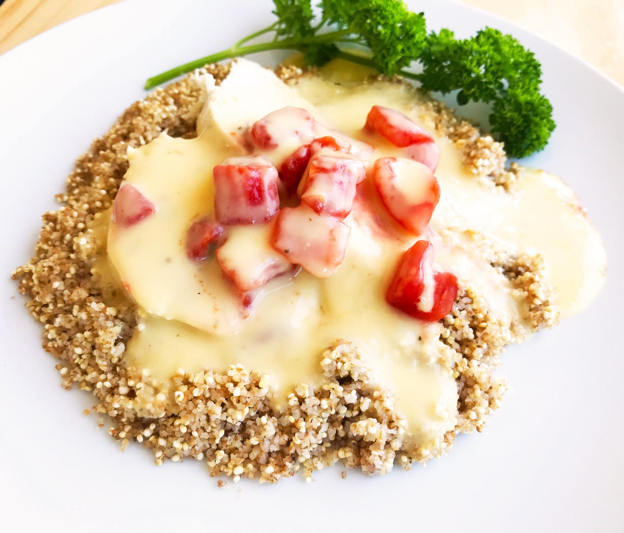 Poulet au pesto maison, aux tomates & au quinoa (175 g)