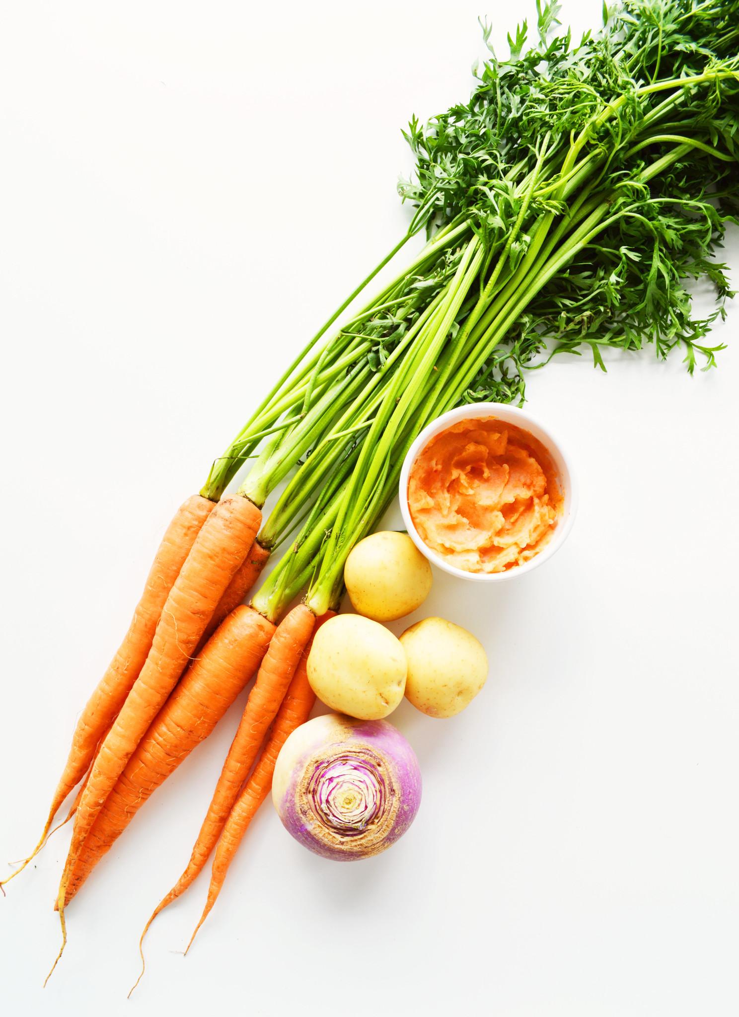 Purée de patates, navets & carottes