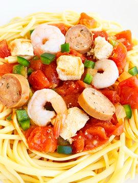 Linguini jambalaya, chicken, shrimps & spicy sausage (325g)