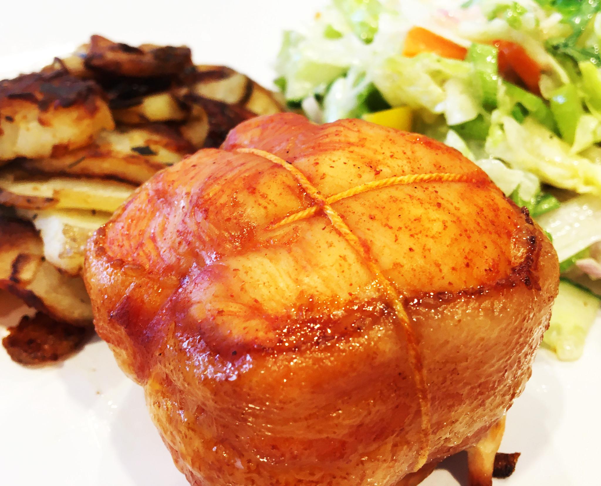 Chicken & bacon BBQ tournedos