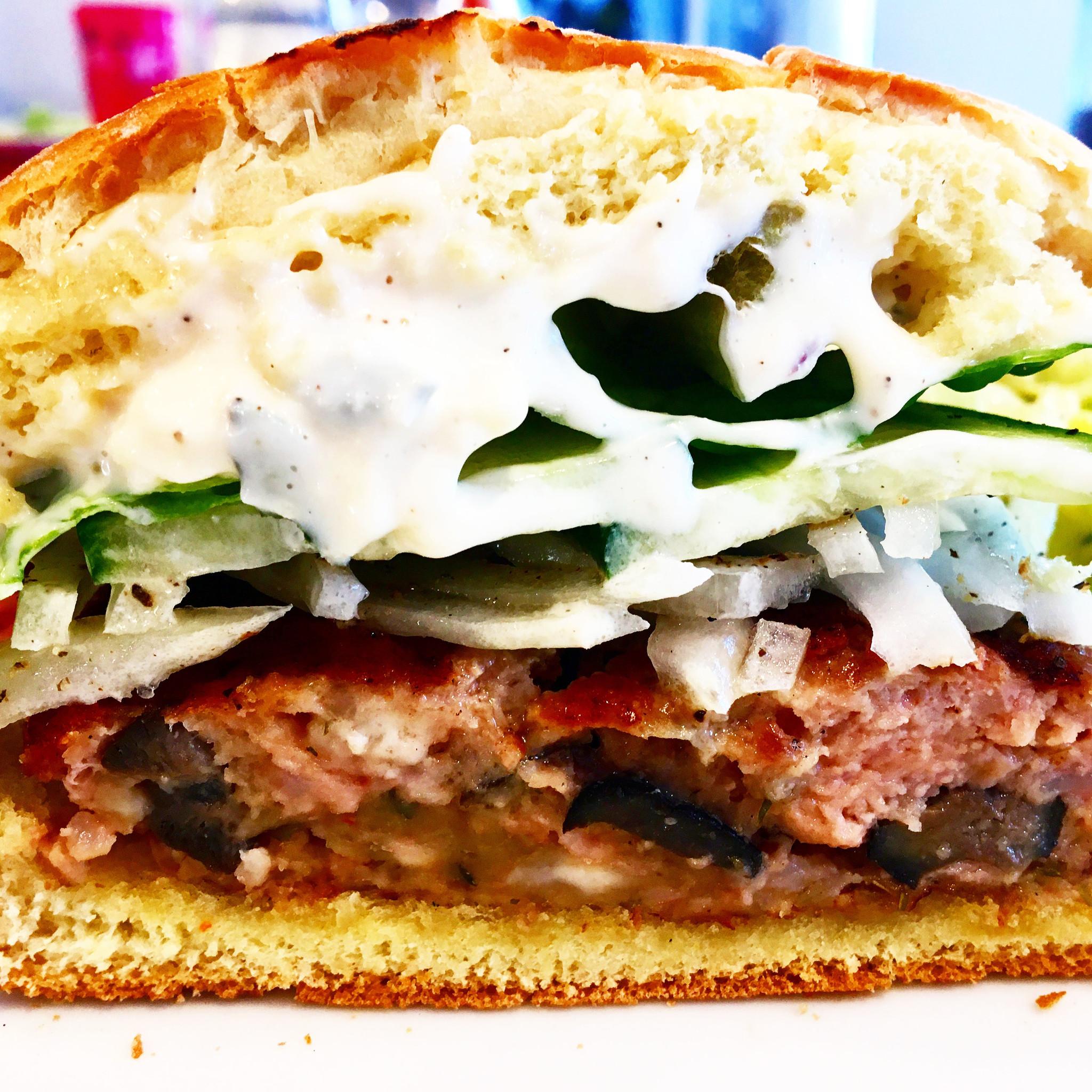 Greek style pork & feta cheese burger