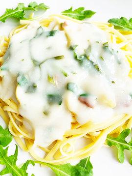 Linguini carbonara & spinach (325g)