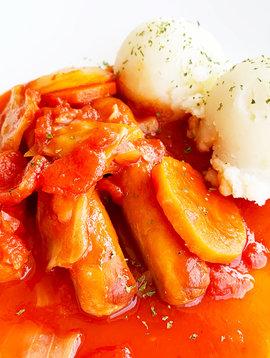 Saucisses créoles, légumes & purée de pommes de terre (175 g)