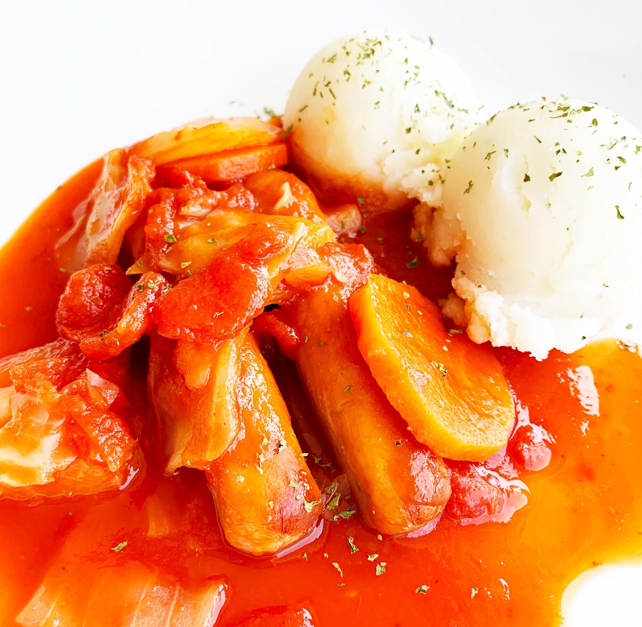 Saucisses créoles, légumes & purée de pommes de terre (325g)