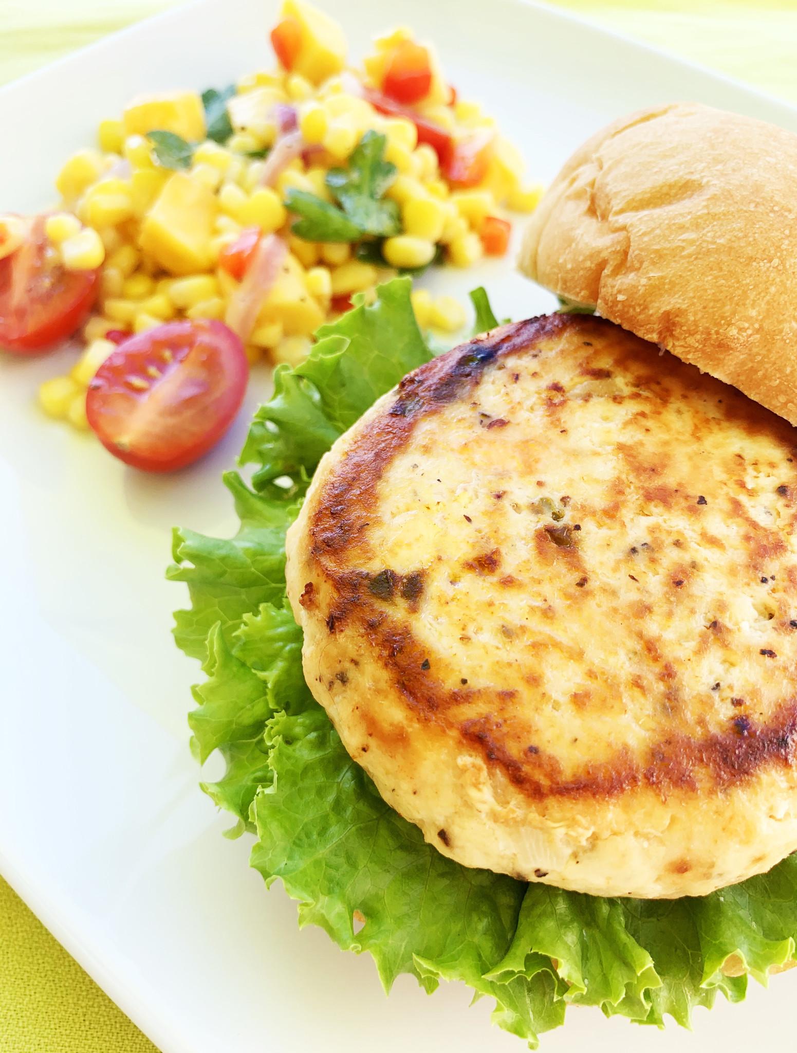 Salmon, capers & horseradish burger