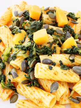 Rigatoni végétalien au pesto maison de poivrons & graines de citrouille (275g)