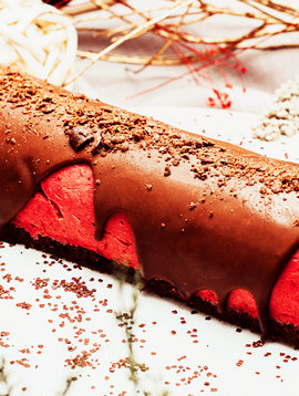Bûche framboises & chocolat