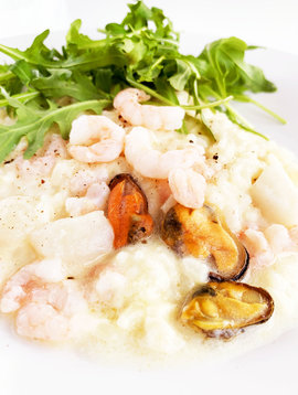 Seafood, cheese and white wine risotto