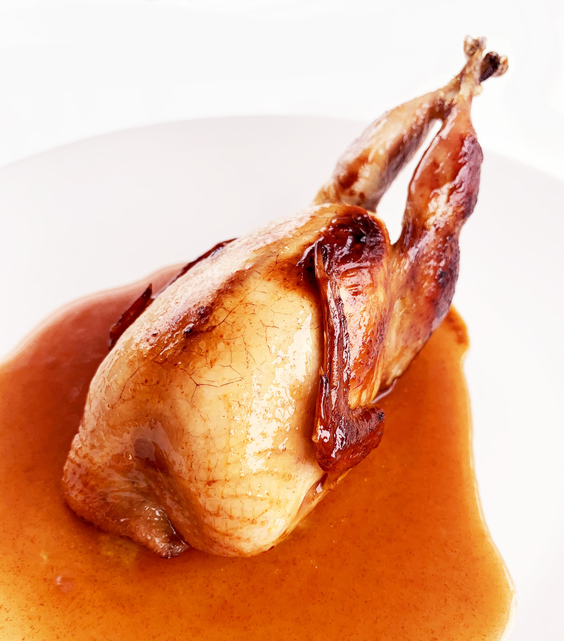 Quail stuffed with poultry liver, porto, maple, apple and walnuts
