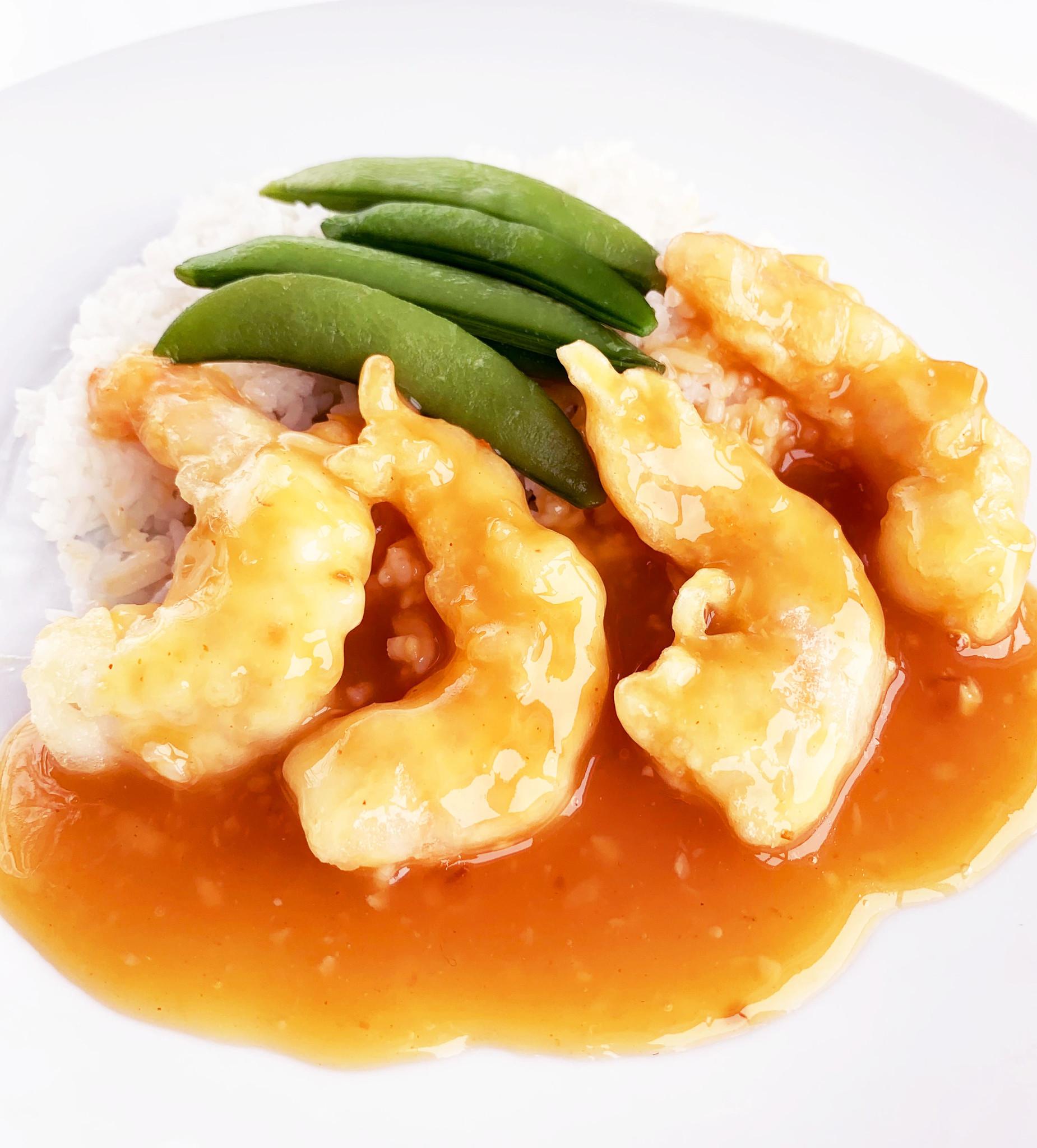 Crevettes au gingembre & à la mandarine, légumes & riz jasmin (325g)