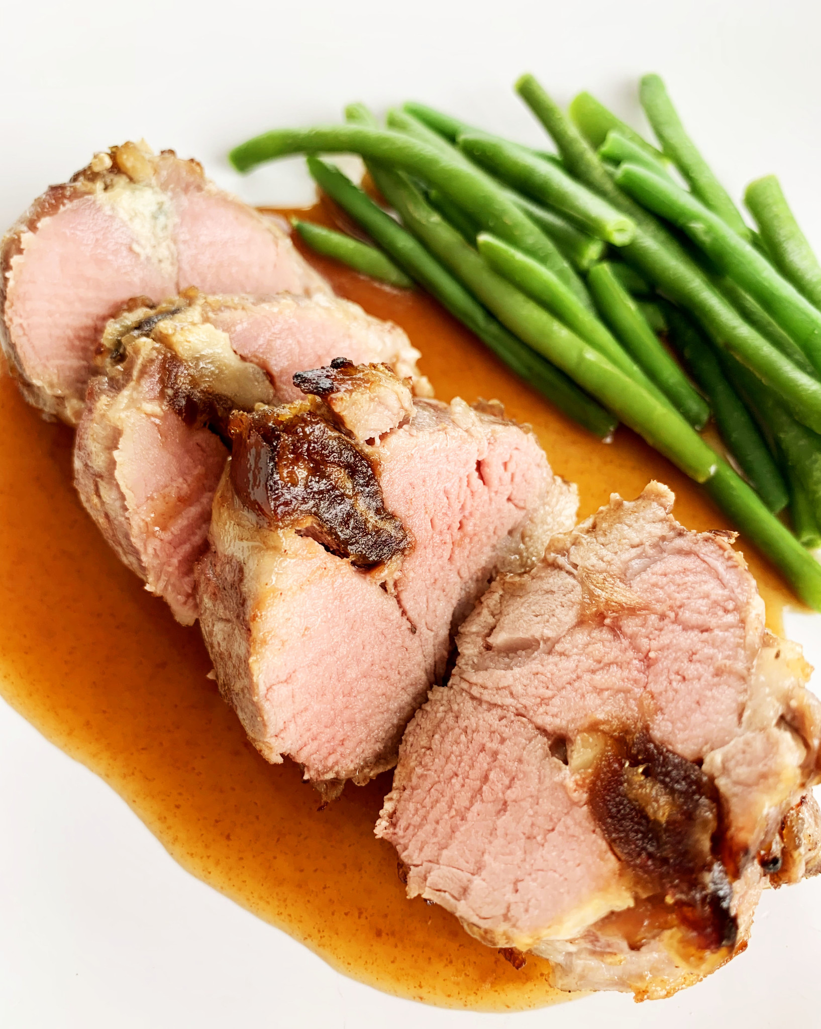 Pork filet mignon stuffed with dates, nuts & blue cheese