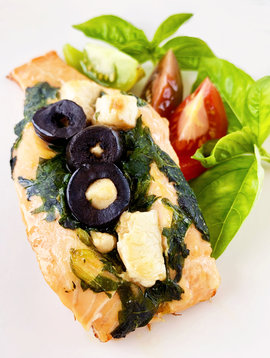 Salmon stuffed with spinach, feta cheese & black olives