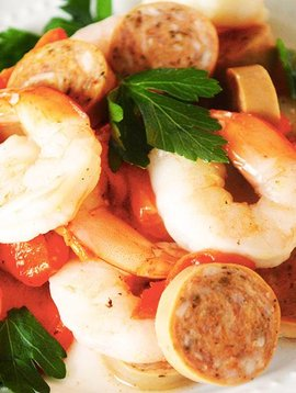 Crevettes cajun, saucisses tomate & basilic