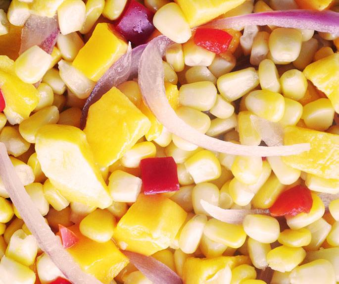 Mangoes, corn, bell peppers & onions