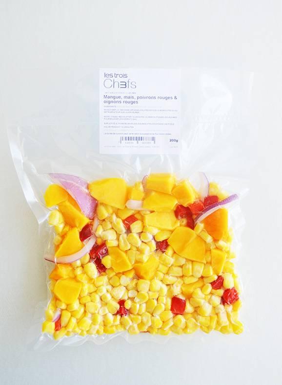 Mangues, maïs, poivrons & oignons