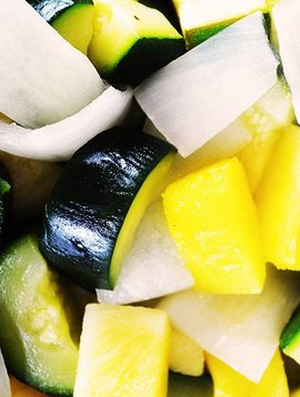 Courges vertes, ananas & oignons (SPÉCIAL Septembre Prix rég: 4.00$)