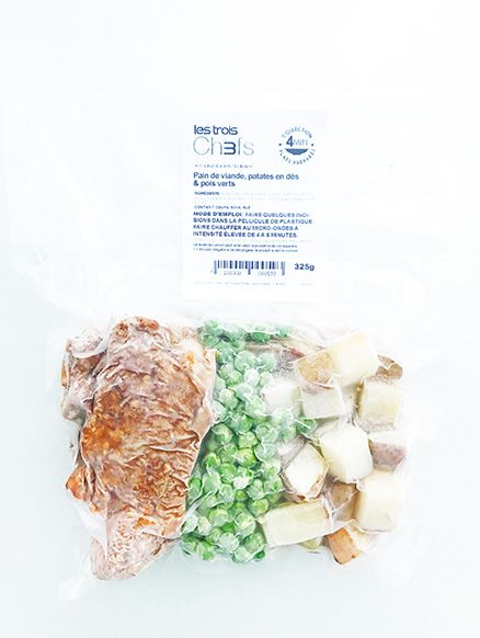 Meatloaf, diced potatoes & green peas (325g)