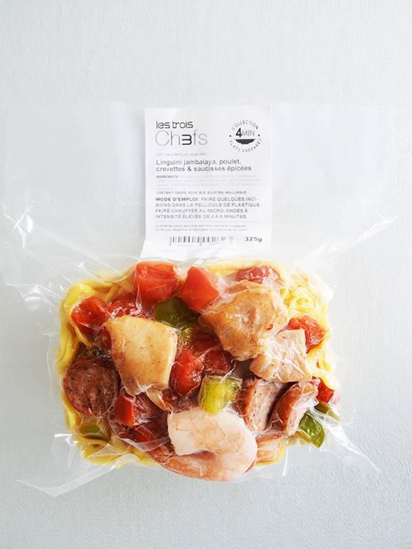 Linguini jambalaya, poulet, crevette & saucisse épicée (325g)