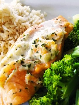Salmon stuffed with shrimps
