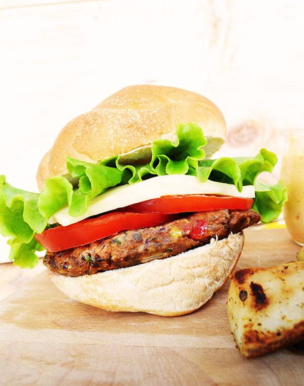 Vegetarian beans, vegetables & lentils burger