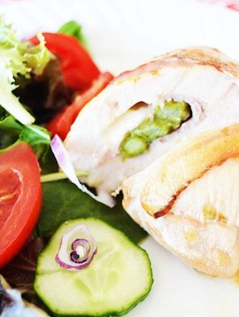 Chicken breast stuffed with ham, asparagus, cheese & bacon