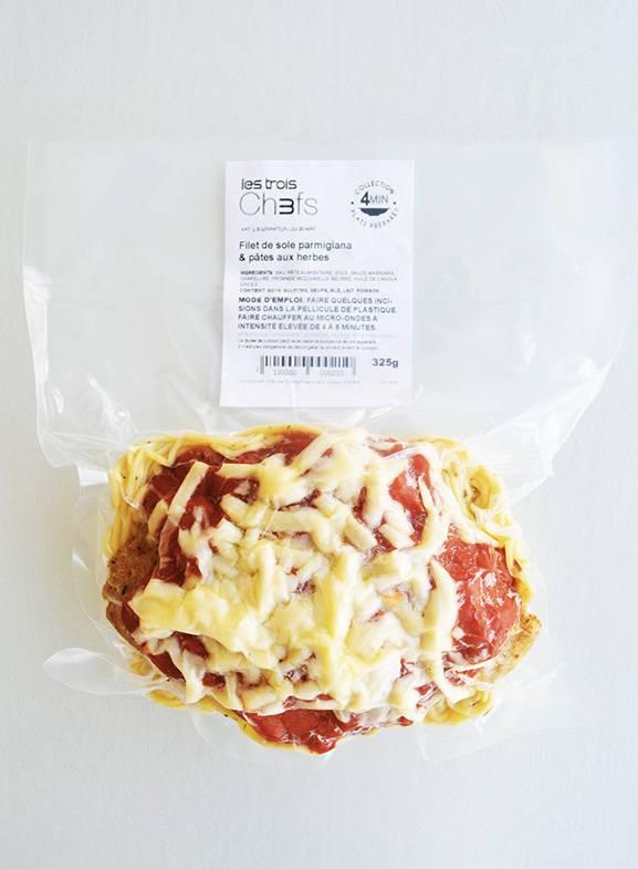 Filet de sole parmigiana & pâtes aux herbes (325g)