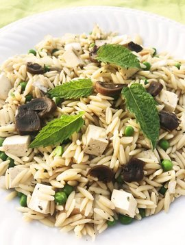 Orzo au tofu, aux champignons, aux pois verts & à la  menthe (325g)