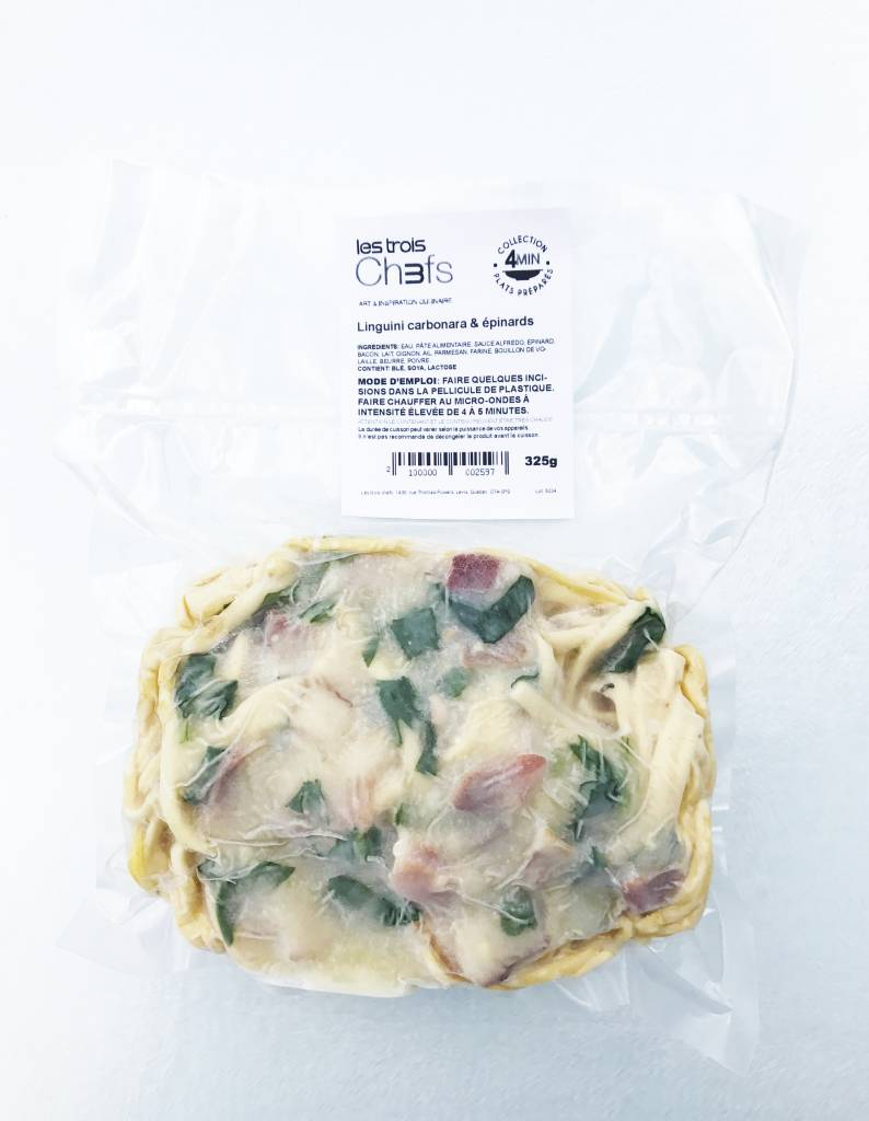 Linguini carbonara & épinards (325g)