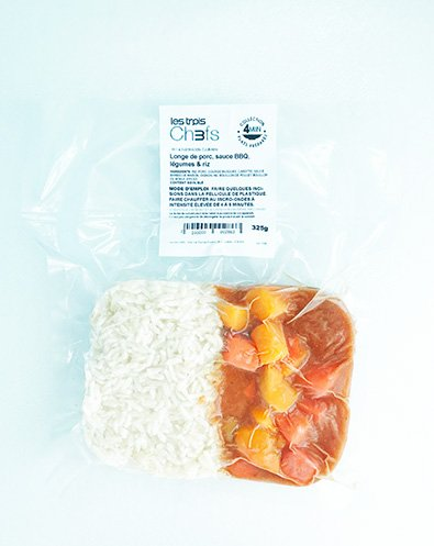 Filet de porc, sauce BBQ, légumes & riz (325g)