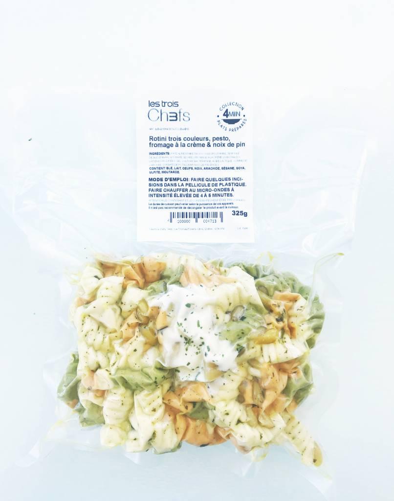 Three-color rotini, homemade pesto & cream cheese