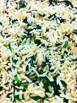 Riz brun aux épinards & champignons