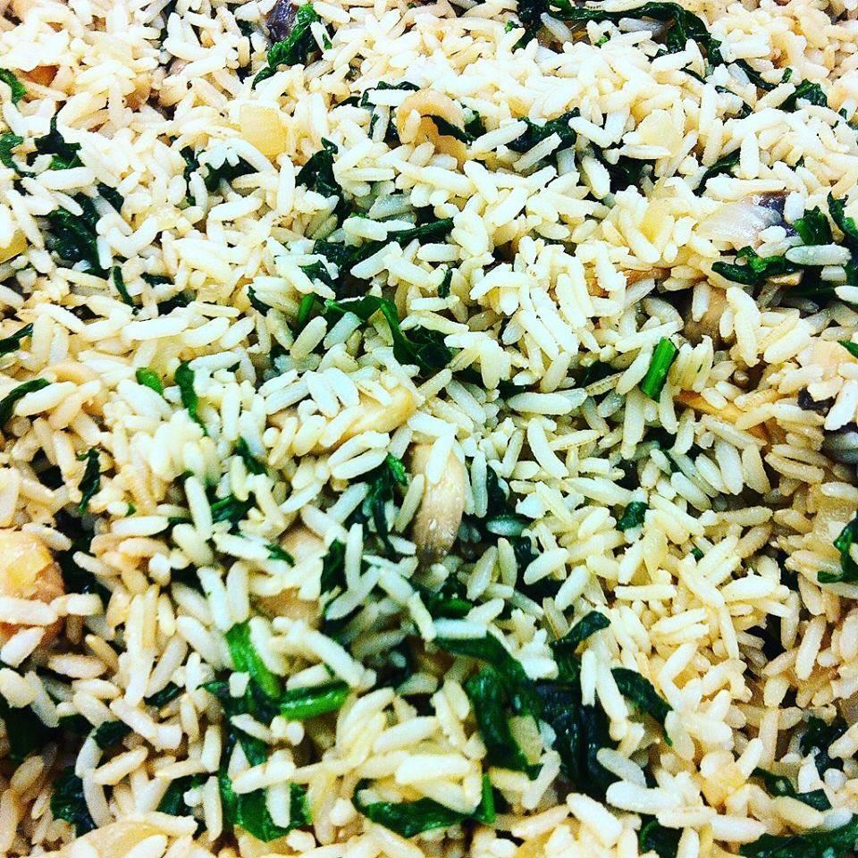 Spinach & mushroom brown rice