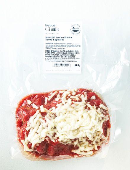 Manicotti sauce marinara, ricotta & épinards (325g)