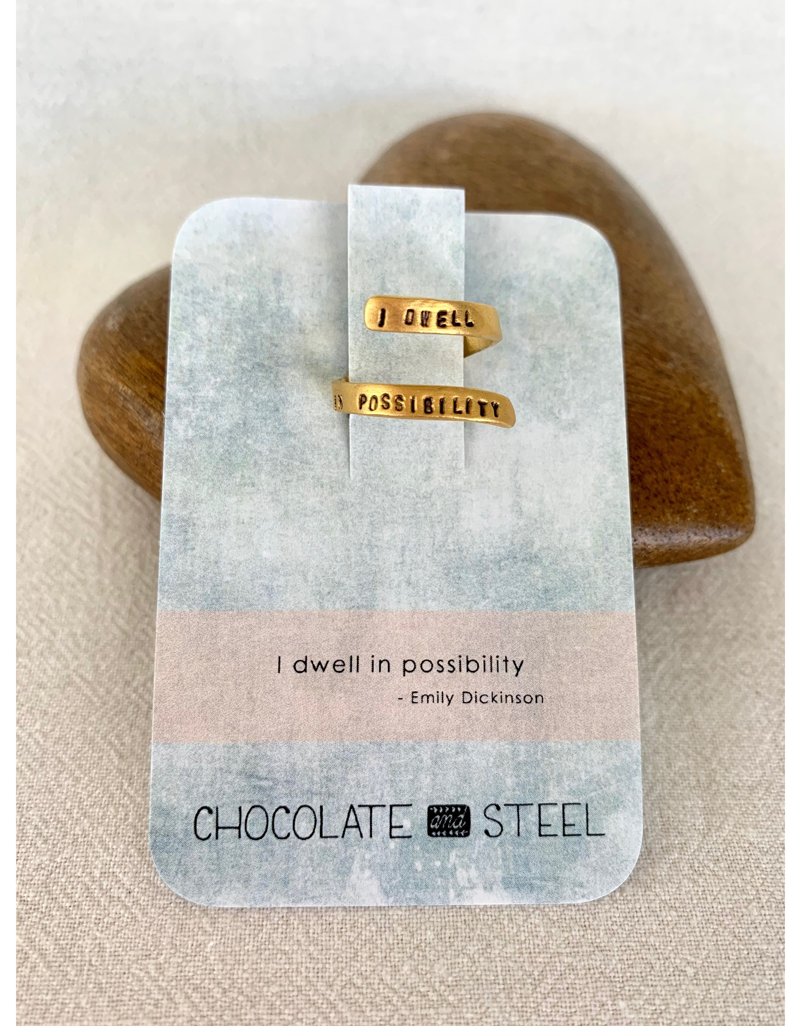 Chocolate & Steel CAS Quote Ring - G