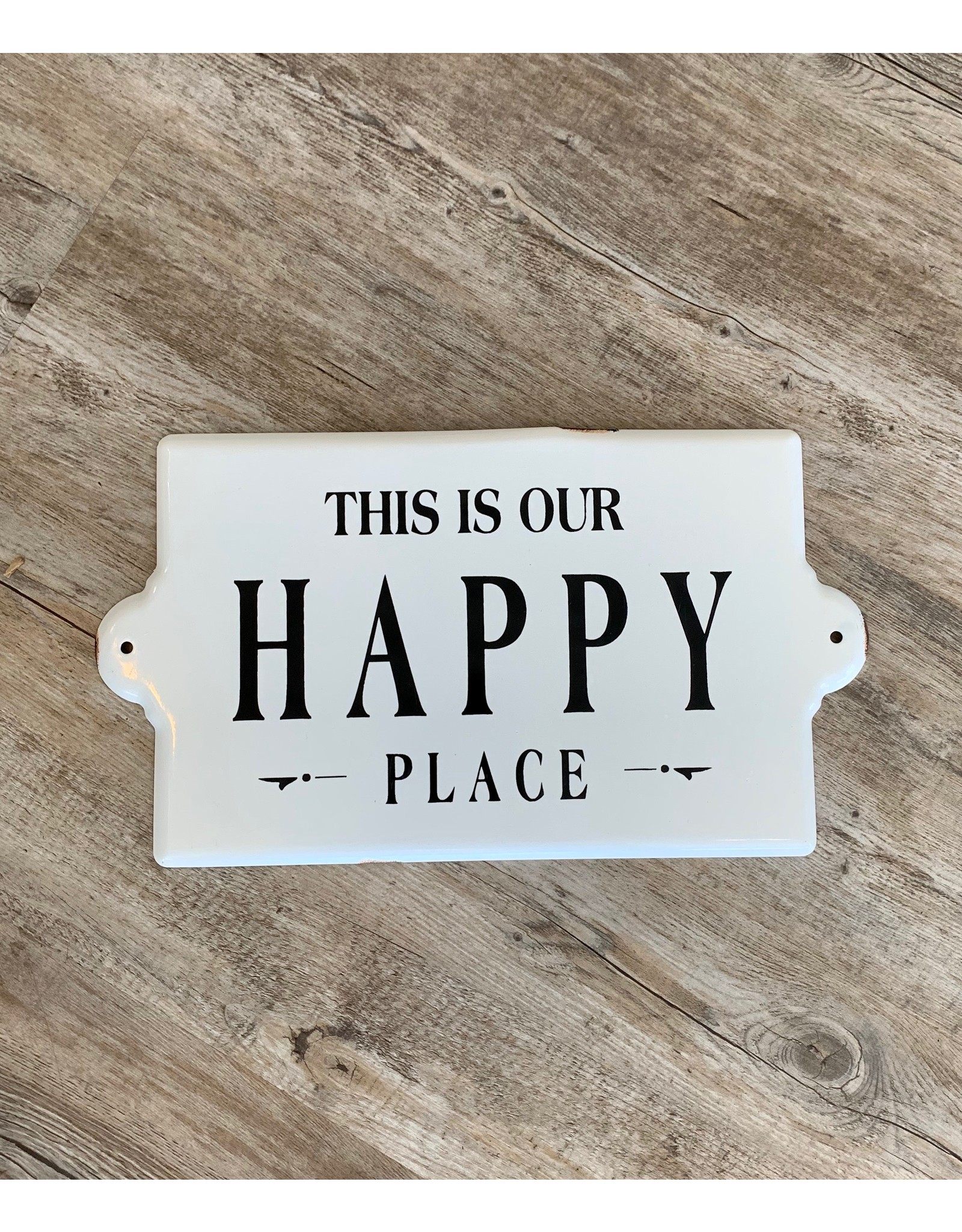 Happy Place Enameled Sign
