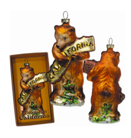 SF Mercantile CA Bear Hug Glass Ornament