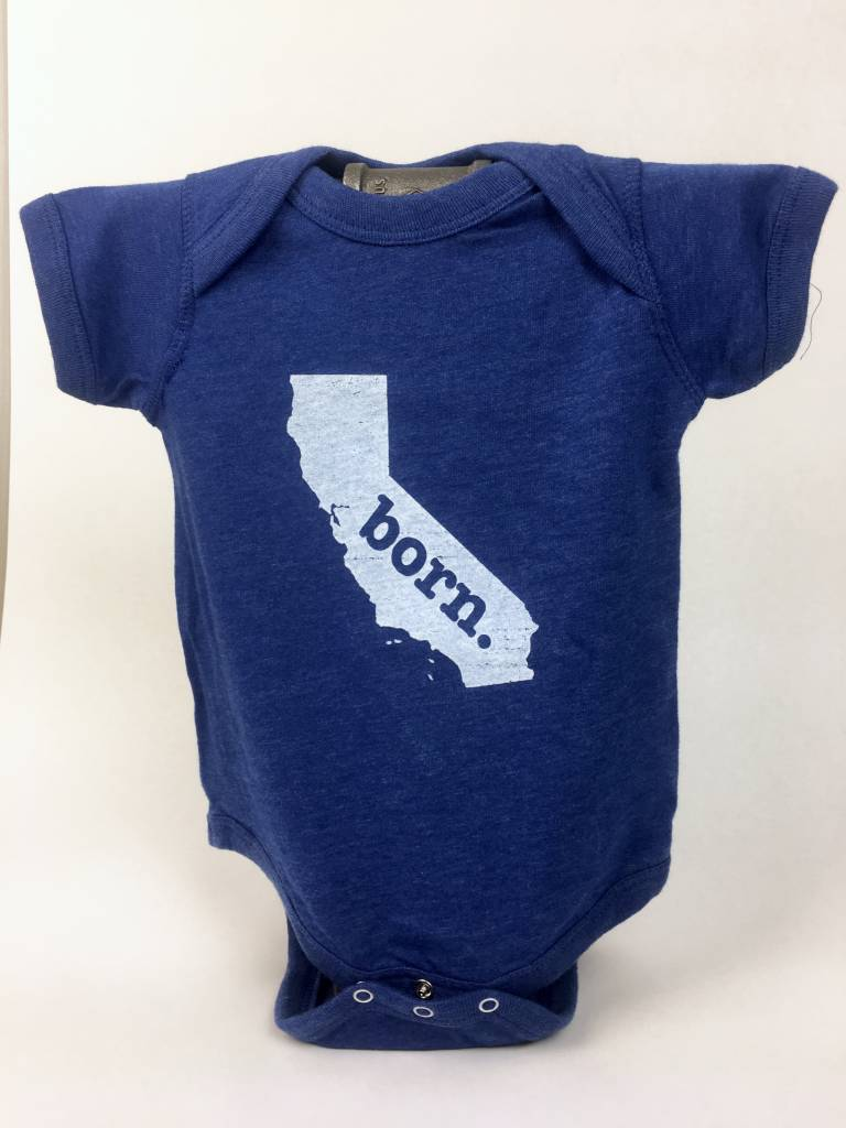 Home State Apparel CA BORN Onesie - Royal Blue